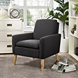 Lohoms Modern Accent Fabric Chair Single Sofa Comfy Upholstered Arm Chair Living Room Furniture Black