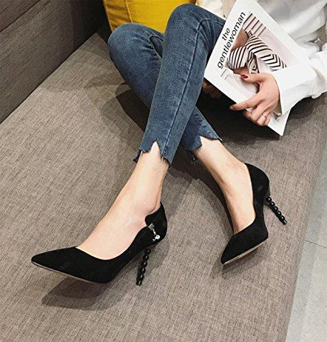 salvaje alto Ajunr Ocasional de 9 Mujer 39 zapatos zapatos Sandalias solo luz Puerto elegante la Retro Ocio mujer Shoes de 5cm 36 de Punta Transpirable Negra Heel 66AT1xw