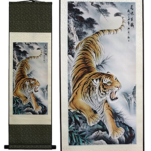 SweetHome Asian Silk Scroll & Picture Scroll & Wall Scroll Calligraphy Hanging Artwork (The Tiger Coming Down)