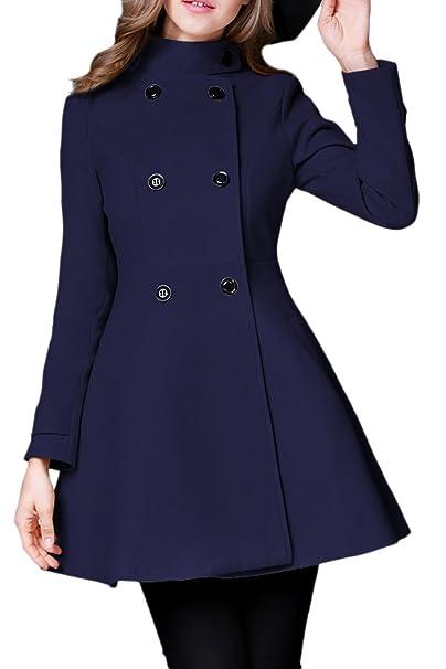 La Mujer Invierno Sólido Estilo Británico Doble Botonadura Abrigo De Tweed Outwear: Amazon.es: Ropa y accesorios