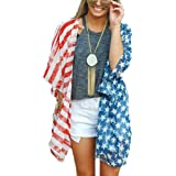 Happy GoGo Askwind 4th of July Women's American Flag Print Kimono Cover up Tops Shirt