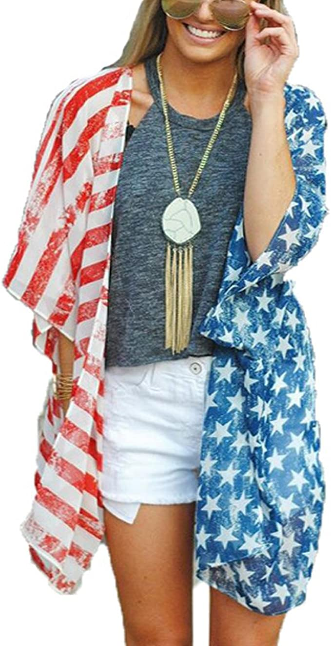 American Flag KIMONO ROBE Womens Red White and Blue USA Stars and Stripes Womens Kimono Robe Gift for her Fourth of July Independence Day
