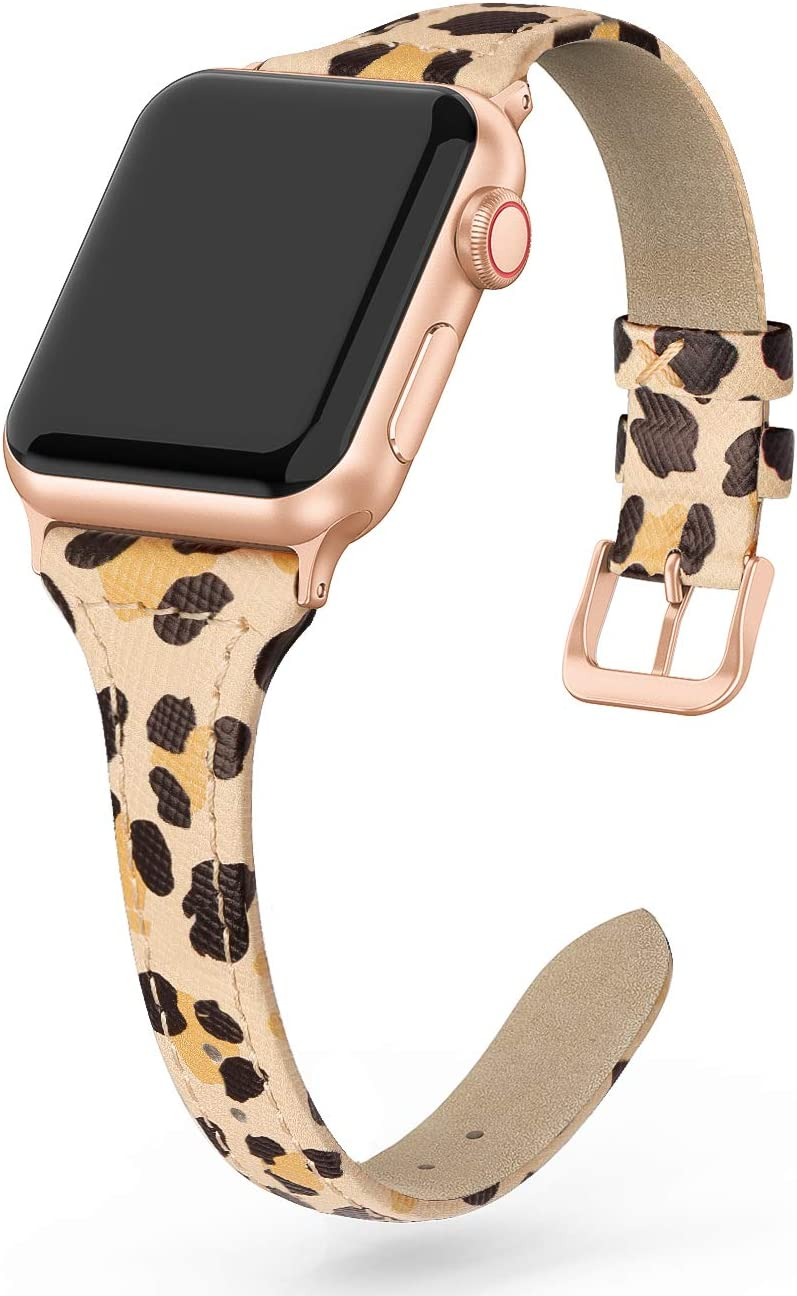 SWEES Leather Band Compatible for iWatch 38mm 40mm, Slim Thin Dressy Elegant Genuine Leather Strap Compatible iWatch Series 6, Series 5 Series 4 Series 3 Series 2 Series 1 SE Sport Edition Women, Leopard Print