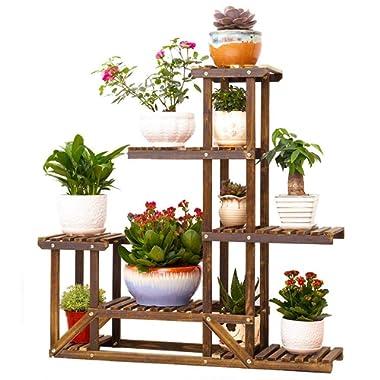 Wooden Plant Bonsai Stand Flower Pot Shelf Storage Rack Outdoor Indoor 6 Pots Holder 96x95x25cm
