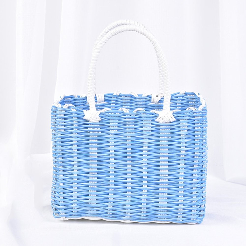 SEESUNG Plastic Woven Bath Blue Bathroom Storage Basket Basket Baby Portable Basket Basket Hanging Basket Flower Basket, Blue