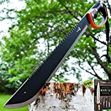 25'' SURVIVAL HUNTING Sawback Military FULL TANG MACHETE Fixed Blade Knife SWORD + Free eBook by SURVIVAL STEEL