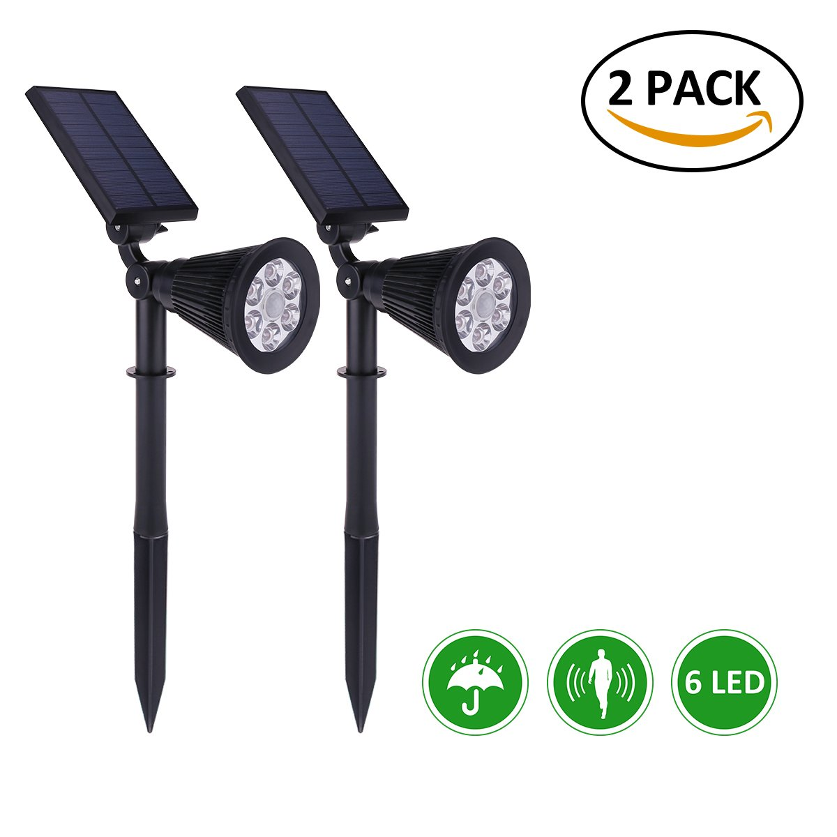 Amazoncom AICEDA 6 LED Motion Sensor Solar Lights Waterproof
