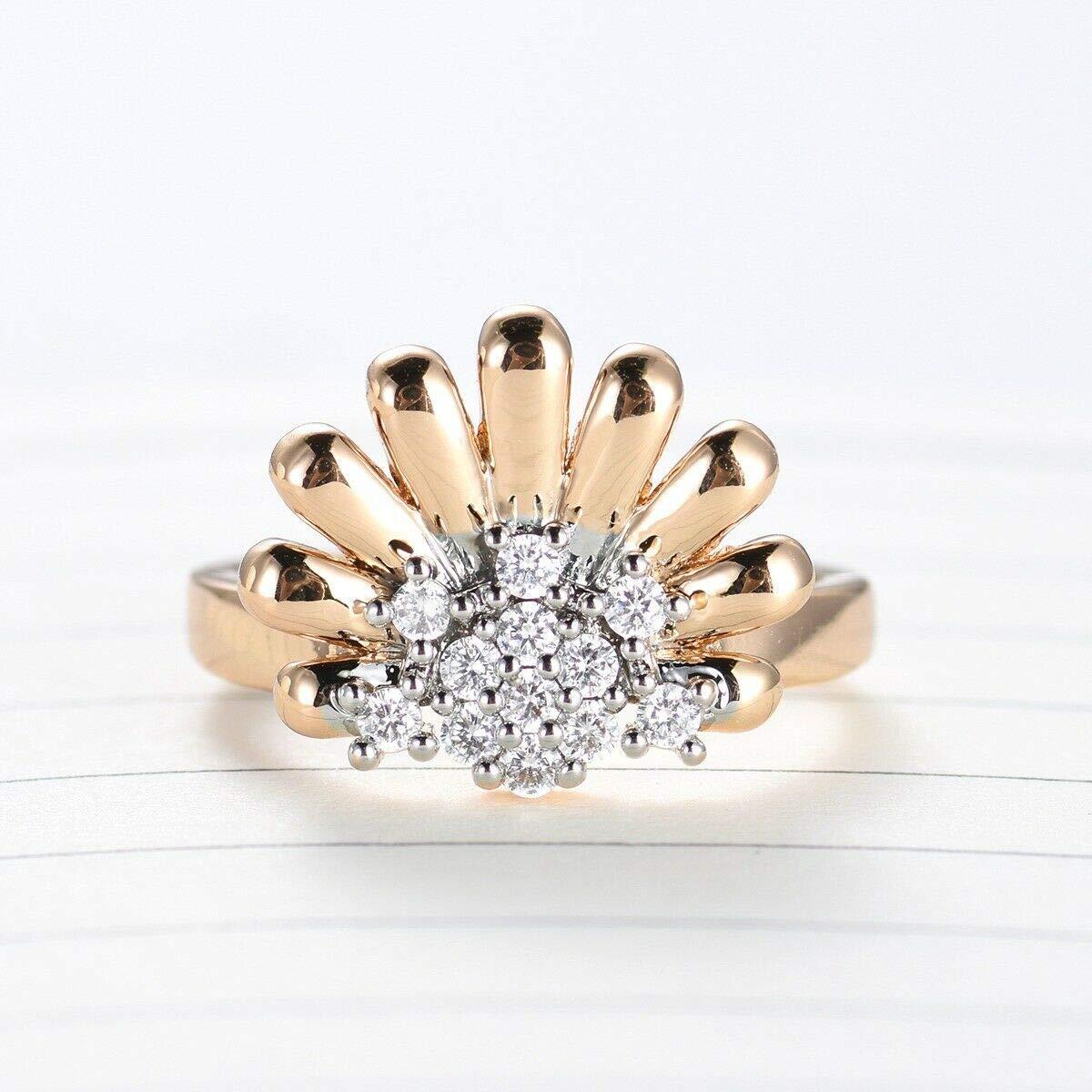 Jewelryamintra Lady Daisy Topaz Crystal Rhinestone 18K Gold Platinum Filled Cluster Ring Gift 9