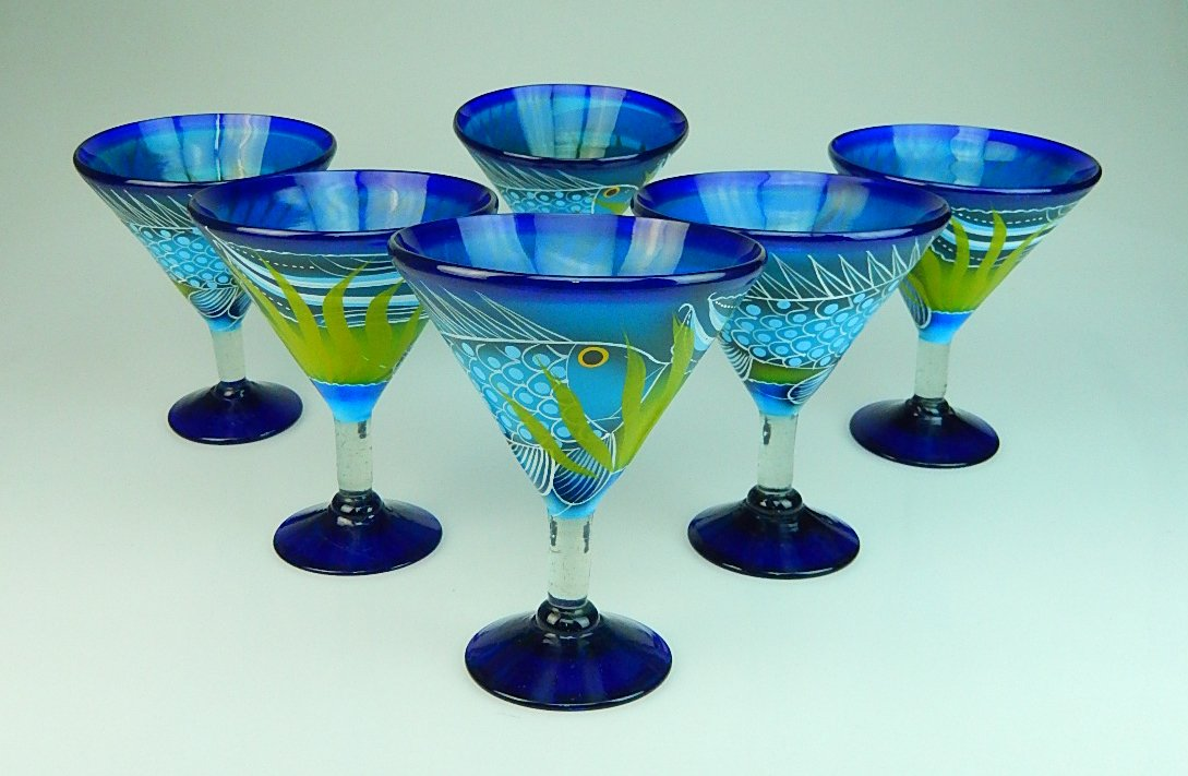 Mexican Glass Margarita Martini Hand Painted Fish In Sea, 14 Oz, Set of 6