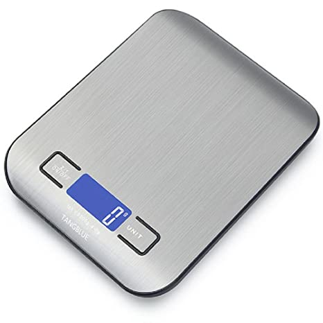 Tangblue Digital Kitchen Scale High Accuracy Multifunction Food Scale 11 Lb 5 Kg Tare Auto Off Batteries Included Silver