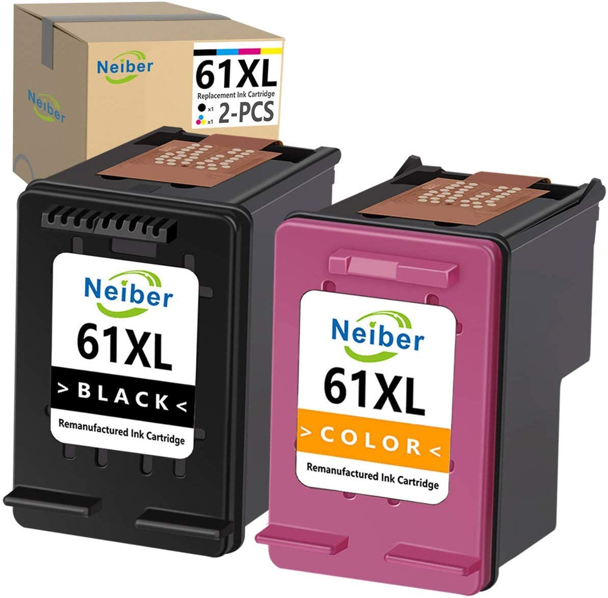 Neiber Remanufactured Ink Cartridge Replacement for HP 61XL 61 XL (Black Tri-Color 2-Pack) Work with OfficeJet 2622 4635 4632 2620 Envy 4500 5530 4502 5534 5532 DeskJet 3050 3050A 3060 3000 Printer