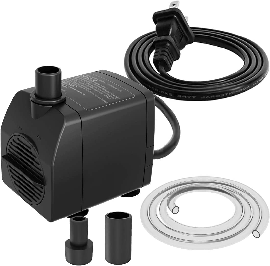 Zoronk Fountain Pump Dry Burnning Protection&Ultra Quiet Design with 3.2ft Tubing 200GPH for Aquarium, Fish Tank Fountain, Powerful Submersible Water Pump with 5.9ft (1.8m) Power Cord …