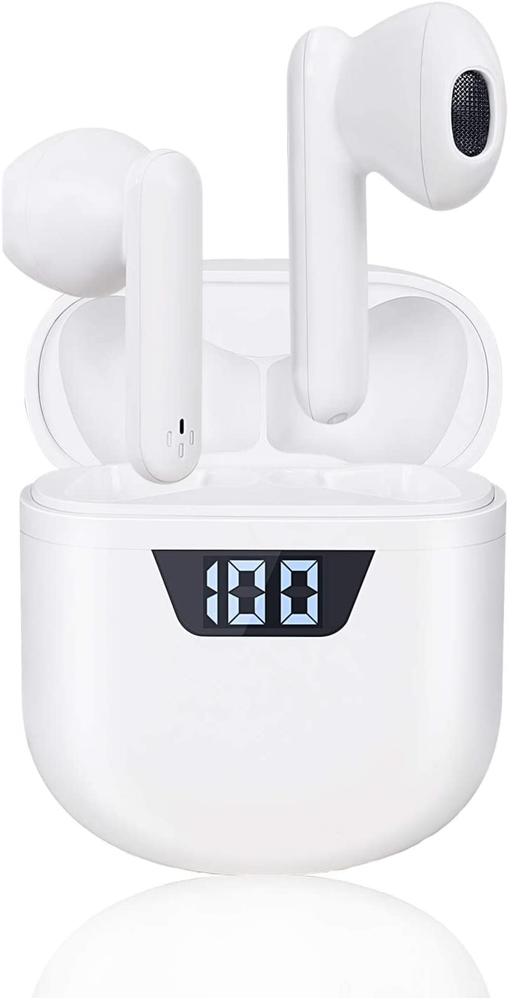 Bluetooth 5.2 Wireless Earbuds,Built-in Mic in-Ear HD Stereo Earbuds IPX7 Waterproof Sports Earbud [LED Display Charging Case],Auto Pairing for Earphones Apple Airpods iPhone/Android (New White)