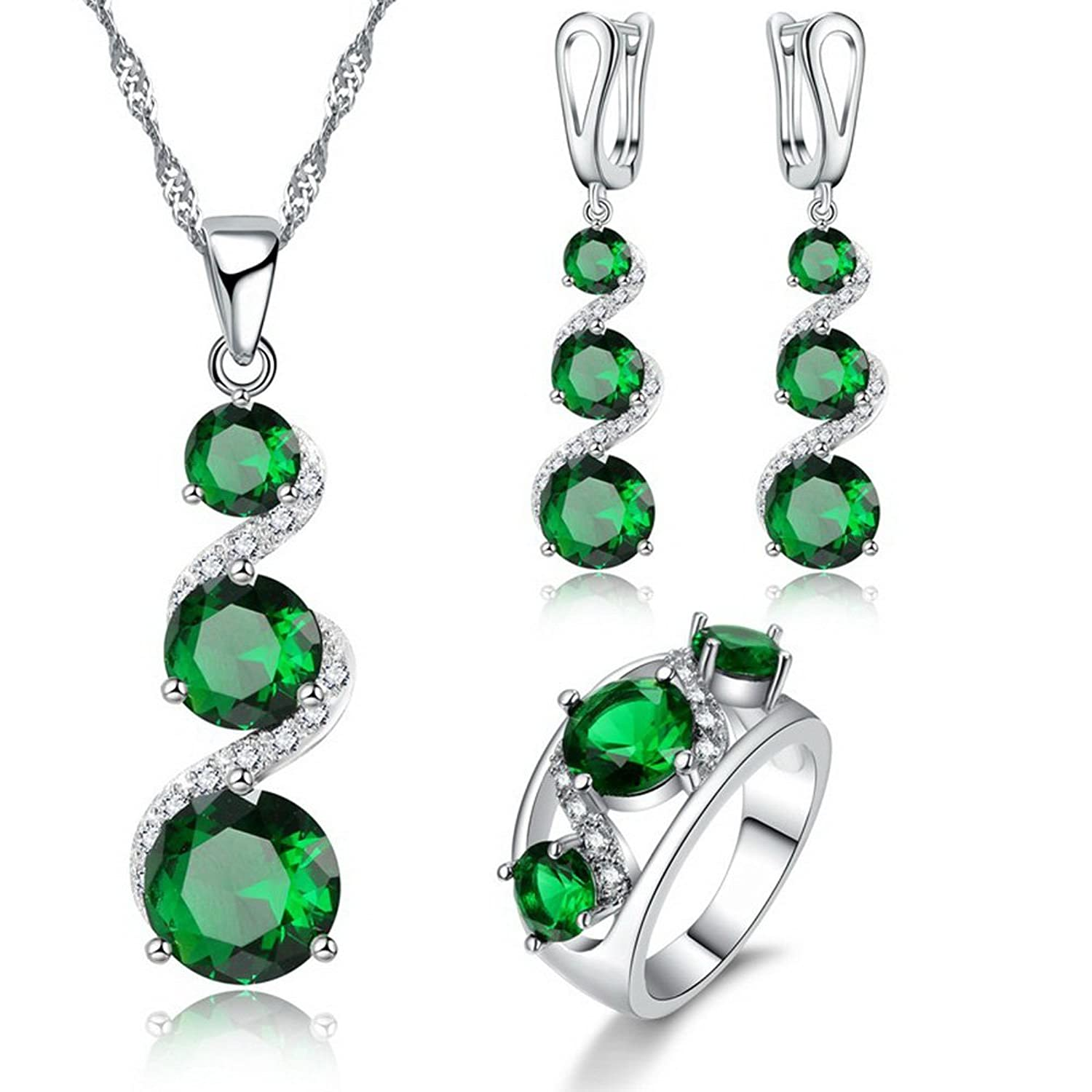 JEMMIN Fashion Bridal Wedding Engagement Jewelry Sets for Women Necklace Earrings Ring