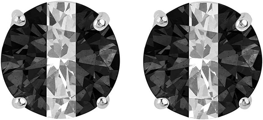 Sterling Silver Black and White Colored CZ 7mm Round Post Earrings