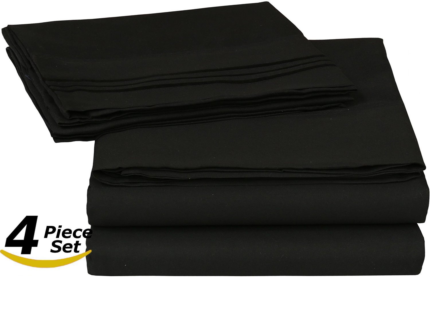 ROHI Bedding 4-piece Bed Sheet Set, Wrinkle, Fade & Stain Resistant, Hypoallergenic, Includes Fitted Sheet, Flat Sheet, and 2 Pillow Cases (Double, Black) INTELO