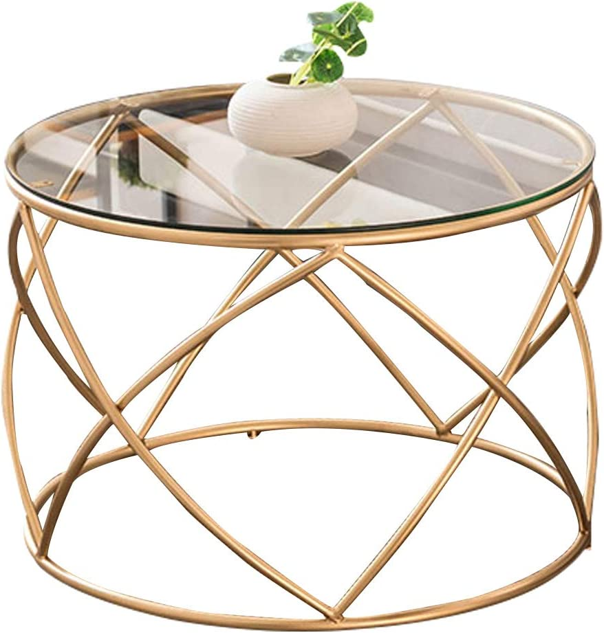 Xwzjy Contemporary Round Side Tea Coffee Table Tempered Glass