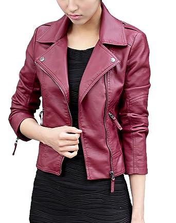 ACEFAST INC Vintage Women Black Slim Biker Motorcycle Soft Leather ...