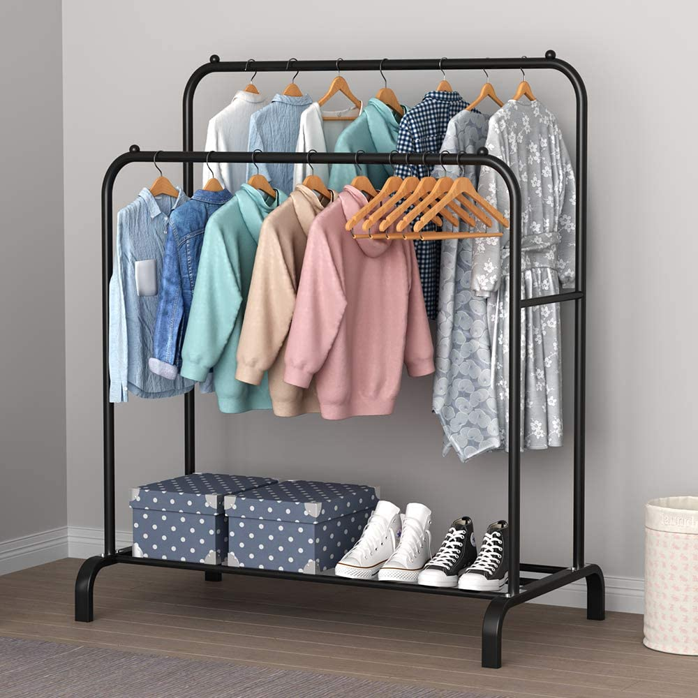 YAYI Drying Rack Metal Garment Rack Freestanding Hanger Double Pole Bedroom Clothing Rack With Lower Storage Shelf for Boxes Shoes