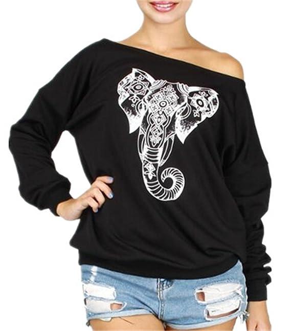 Aivosen Camiseta Mujer Mangas Largas Collar Oblicuo Camisas Elefante Estampado Blusa Ocasionales Sudaderas Además De Terciopelo