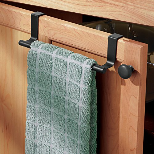 mDesign Decorative Kitchen Over Cabinet Stainless Steel Towel Bar - Hang on Inside or Outside of Doors, Storage and Display Rack for Hand, Dish, and Tea Towels - 9'' Wide, Pack of 2, Matte Black by mDesign (Image #1)