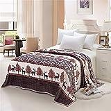 "Elk art, Christmas reindeer motifs soft 100% polyester blanket medium size 60""(w)x80""(h)"