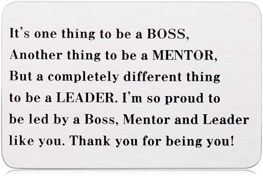 Boss Appreciation Gifts for Women Men Boss Lady Wallet Insert Card for Leader Supervisor Mentor Birthday Christmas from Coworker Colleague Retirement Leaving Going Away Farewell Goodbye Gift