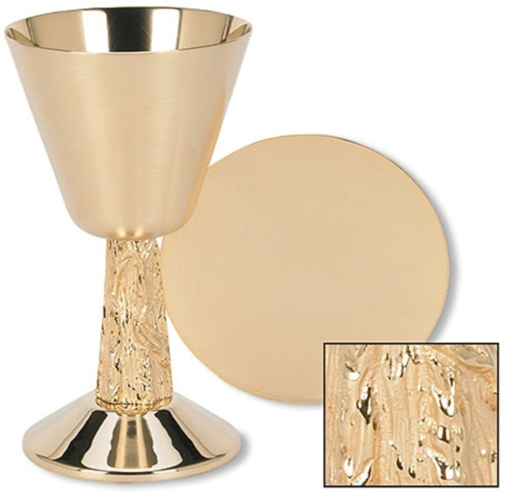 Stratford Chapel Gold Tone Satin Cup with Hand Cast Vine Stem Chalice and Paten Set, 7 1/4 Inch