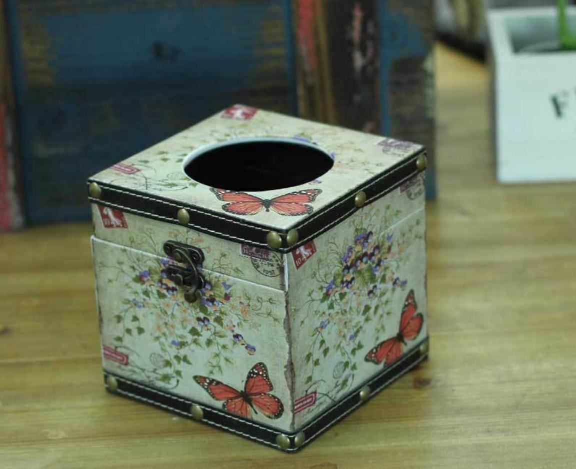 LBY Hecho en casa viejo tejido cajas cuadrada tubo cuero papel: Amazon.es: Hogar