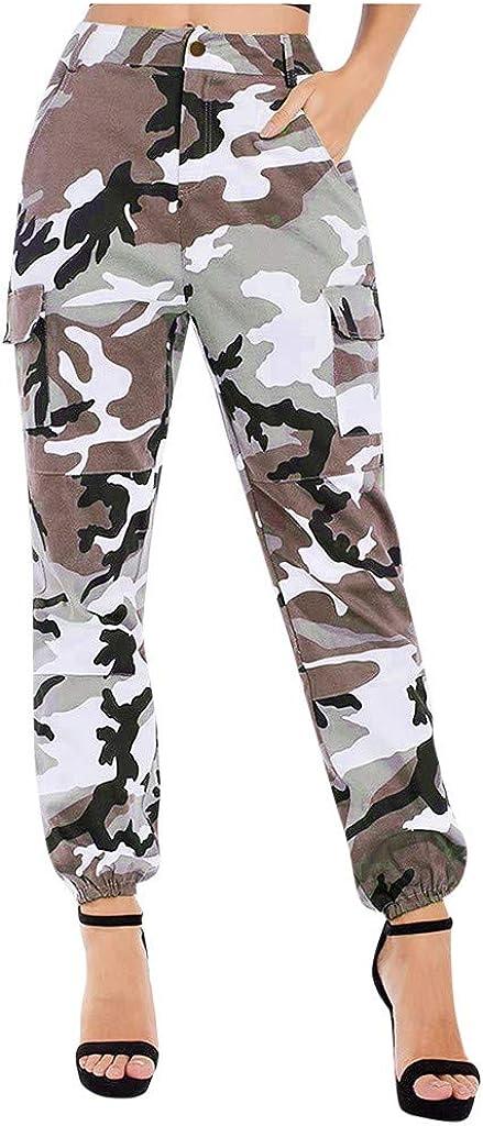 Women Summer Modal Camouflage Sports Fitness Yoga Leisure Cargo Pants: Clothing