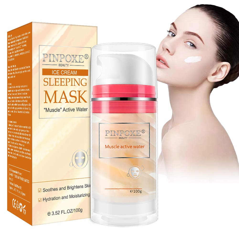 Water Sleeping Mask, Hydrating Overnight Mask, Hyaluronic Acid, Hydrating and Calming Sleeping Mask, Anti-Wrinkle & Anti-Aging Facial Mask, Cooling Mask for All Skin Types