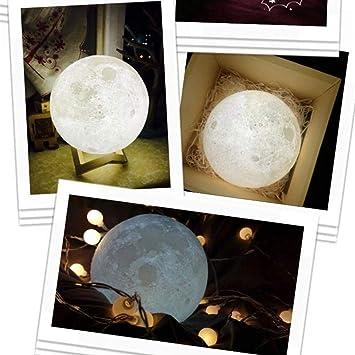 Decoración luz luna bola, 3d usb LED Mágico luna luz nocturna luz ...