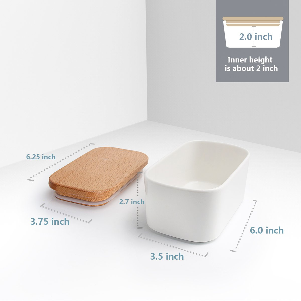 [NEW AND IMPROVED] Sweese 3151 Large Butter Dish - Airtight Butter Keeper Holds Up to 2 Sticks of butter - Porcelain Container with Beech by Sweese (Image #5)