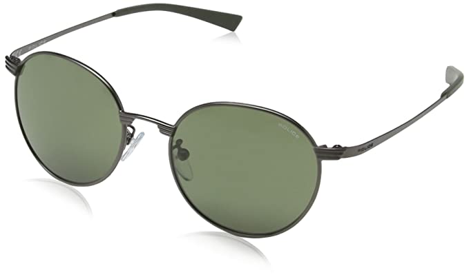 Police - Gafas de sol Redondas S8954 Rival 3, MATT GUNMETAL FRAME/GREY /