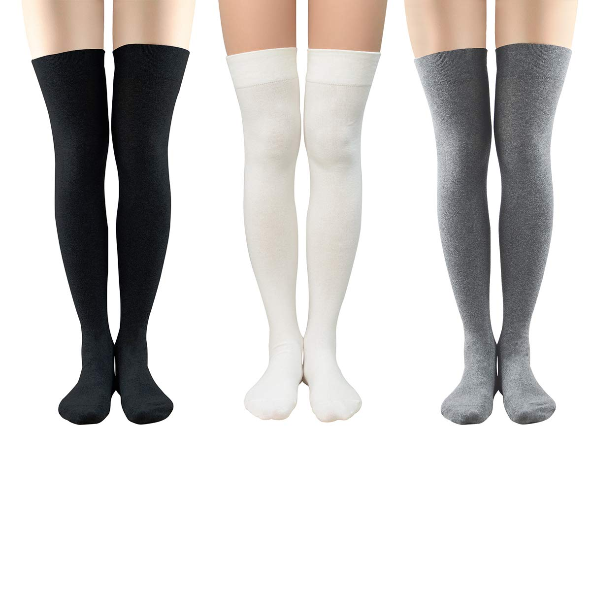 Durio Womens Thigh High Socks Thigh Highs Solid Socks for Women Over the Knee Sock Non Slip Stockings A 3 Pack Black & White & Light Grey One Size