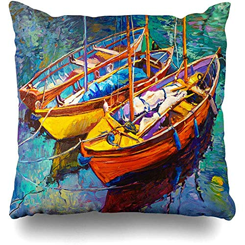 (Decorative Throw Pillow Cover River Watercolor Abstract Original On Canvas Romantic Boats Nature Orange Modern Paint Artwork Home Decor Pillowcase Square 18