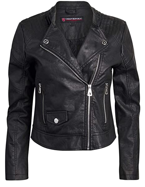 Urban Republic Women Faux Leather Moto Biker Jacket with Studded Detailing
