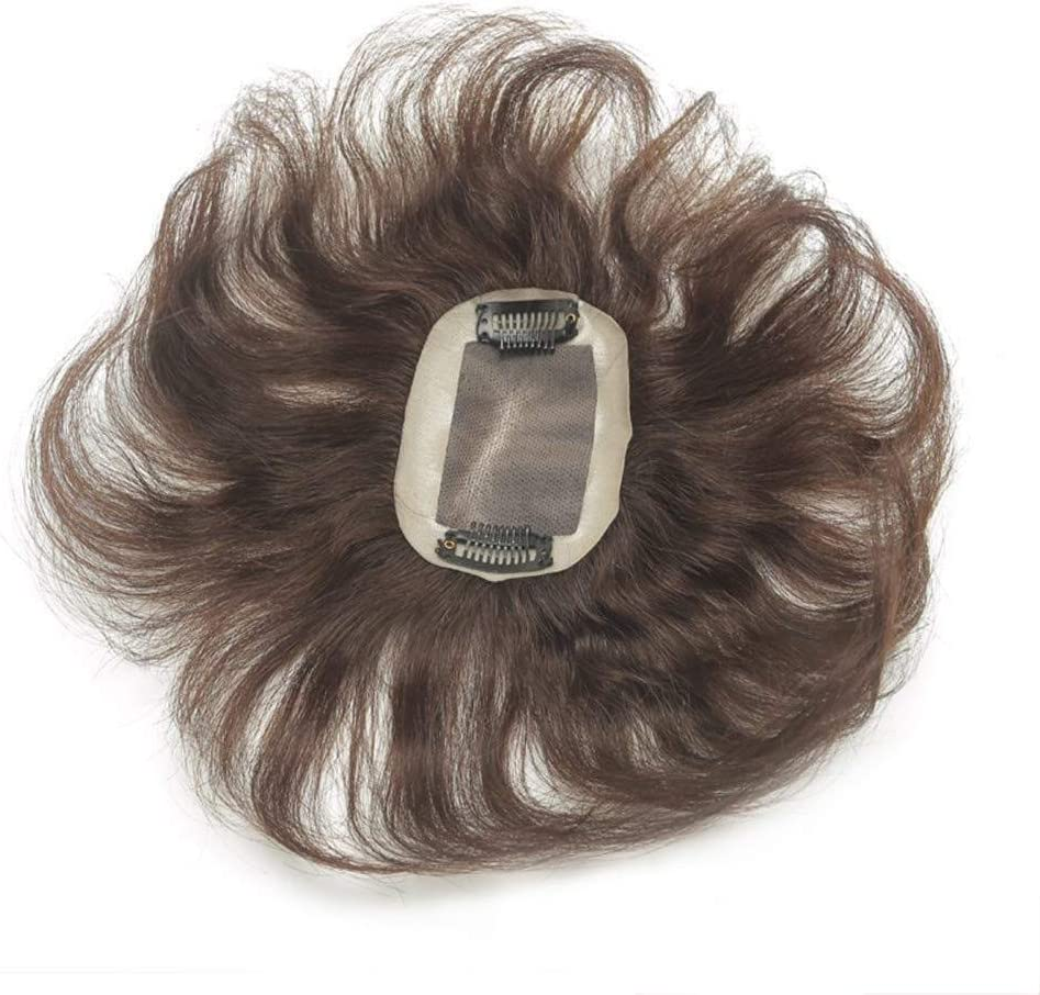 Color : Dark Brown, Size : 6x6cm Mono Real Human Hair,6.6 Natural Wavy Mono PU Human Hair Top Piece Clip in Hair Topper Toupee for Thin Hair Short Lace Front Wigs