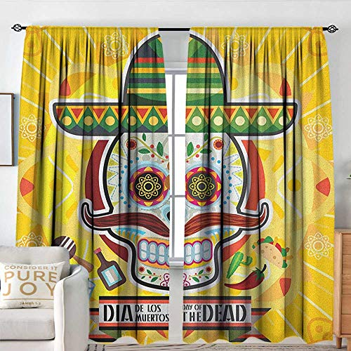 Petpany Rod Pocket Drapes Day of The Dead,Mexican Sugar Skull with Tacos and Chili Pepper November 2nd Colorful Art Print, Yellow,All Season Thermal Insulated Noise Reduce Curtains 54
