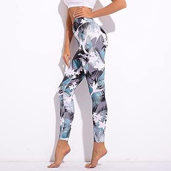 VPASS Mujer Pantalones,Elásticos Impresión Pantalones de Yoga Mujer Fitness Mallas Gym Slim Fit Pantalones Largos Pant Leggings Cintura Alta ...