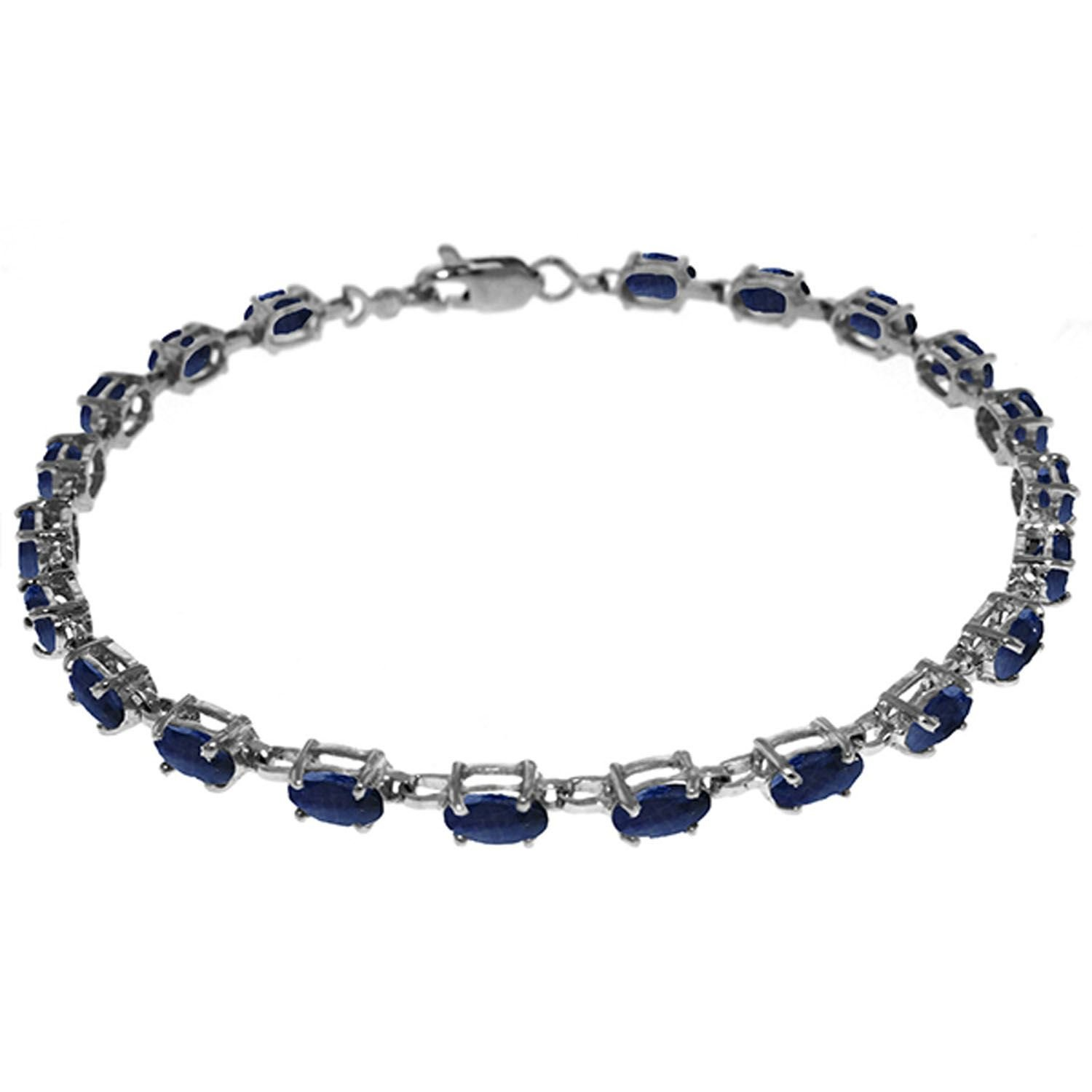 ALARRI 8 CTW 14K Solid White Gold Tennis Bracelet Natural Sapphire Size 8 Inch Length