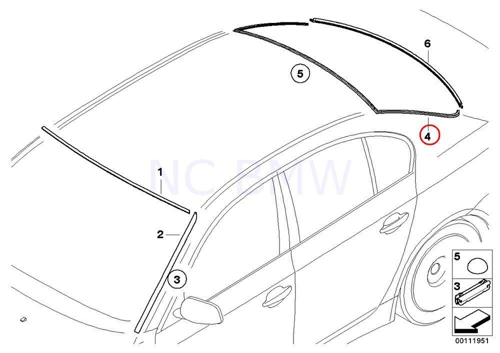 BMW Part Numbers >> Genuine Bmw 5 Series E60 Sedan Rear Window Cover Moulding Trim Oem 51317057415