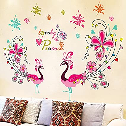 LetS Diy Couple Peacock Wall Sticker Mural Art Decal Vinyl Room Decor Adhesive