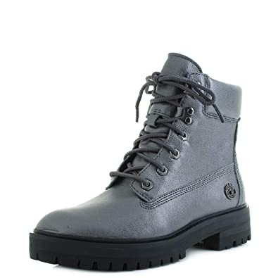 c552ad4fc4 Timberland Womens London Square 6 Inch Dark Grey Lace Up Leather Boots Size  6
