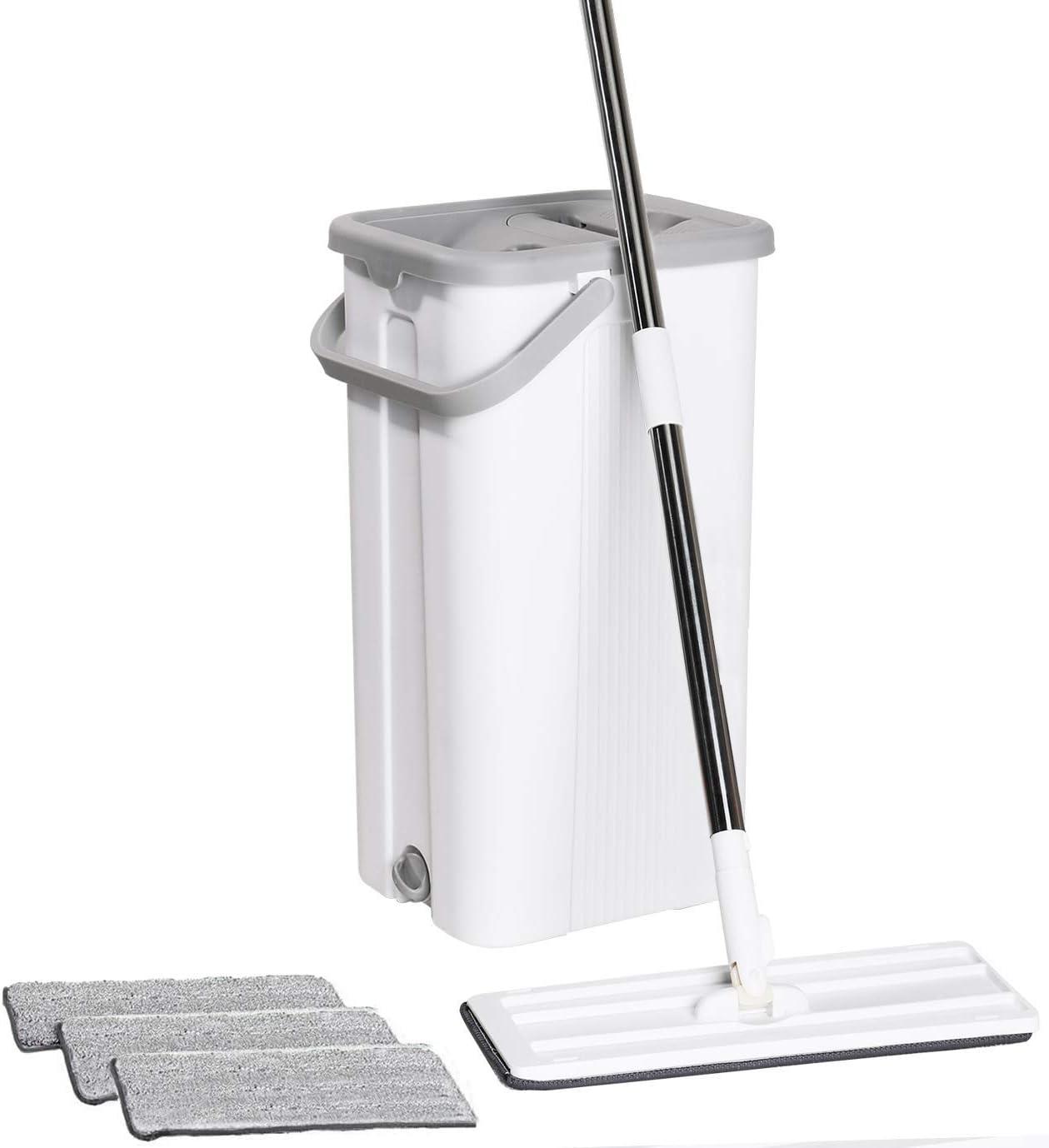 KTT Flat Floor Mop and Bucket Set for Home Floor Cleaning Hands Free Floor Flat Mop Stainless-Steel Handle 3 Reusable & Washable Microfiber Pads…