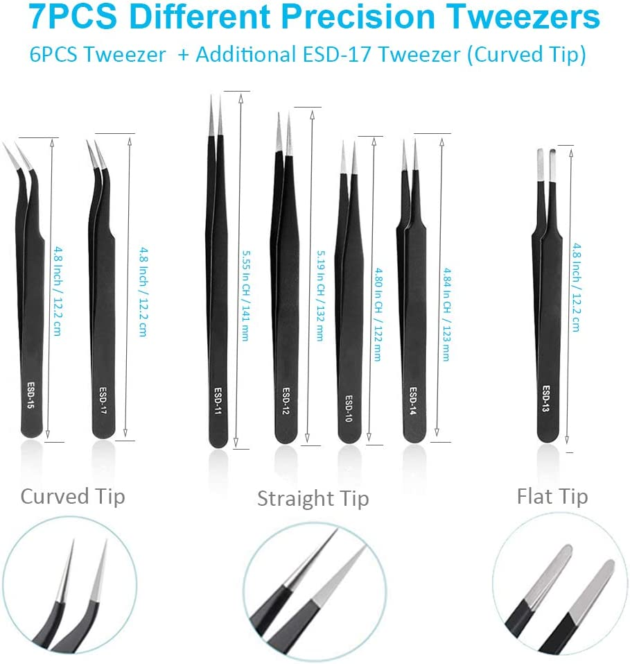 Convenient Family Must-Have Repair Tool Multifunction ESD-11 Anti-Static Tweezers for Phone