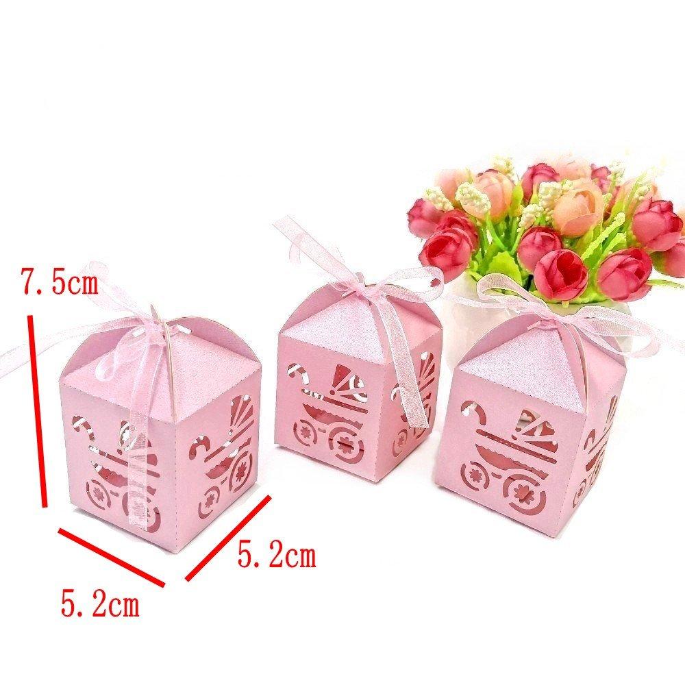 JZK 48 Piezas caja cajitas para caramelos regalo bombones recuerdos bautizos bodas comuniones con cinta para boda cumpleaños fiesta bebé bautizos comunión ...