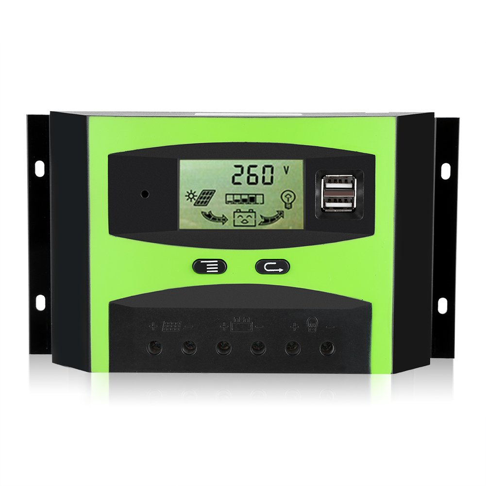 Solar Charge Controller 30 A Charge Regulator Intelligent Battery Smart Solar Controller LCD Display 12 V/24 V Fdit