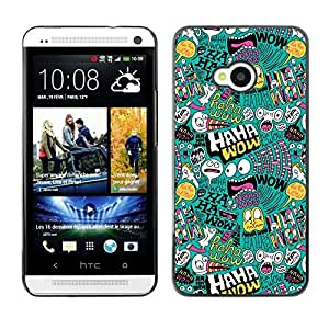 PC/Aluminum Funda Carcasa protectora para HTC One M7 Haha Wow Art Wallpaper Alien Monster Bubble / JUSTGO PHONE PROTECTOR