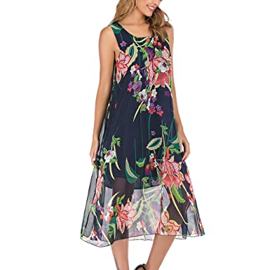 Hotkey Womens Dresses Womens Summer Beach Floral Print Sleeveless Casual Dress Special Occasion